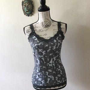 💙💙SALE $7 WHBM Tank Gray Paisley Knit